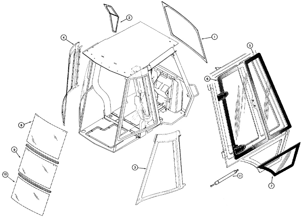 Case Backhoe Cab Glass