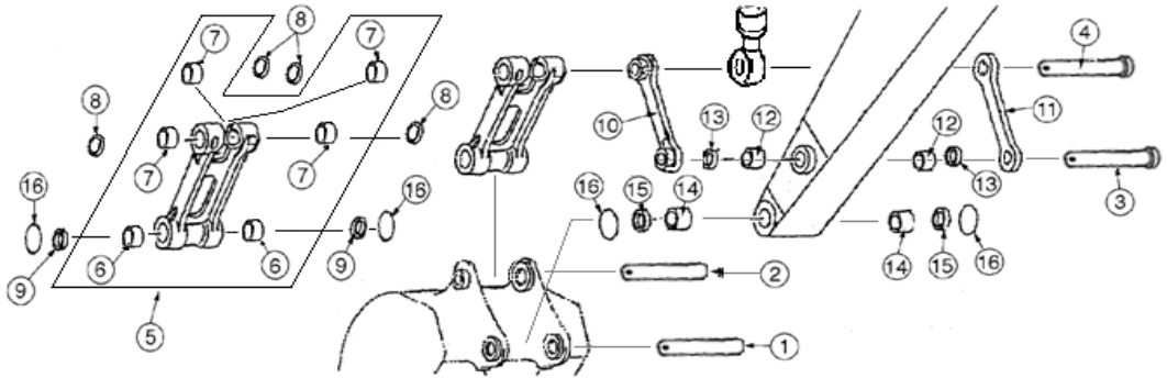Case Excavator Links, Pins, and Bushings